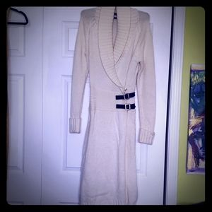Ivory-colored, Sweater, Wraparound Dress